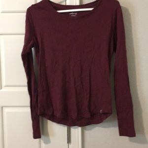 BCG long sleeve athletic top, burgundy curved hem
